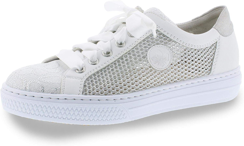 Rieker Women Lace-Up shoes White, (Weiss-silver Weiss w) L59D6-81