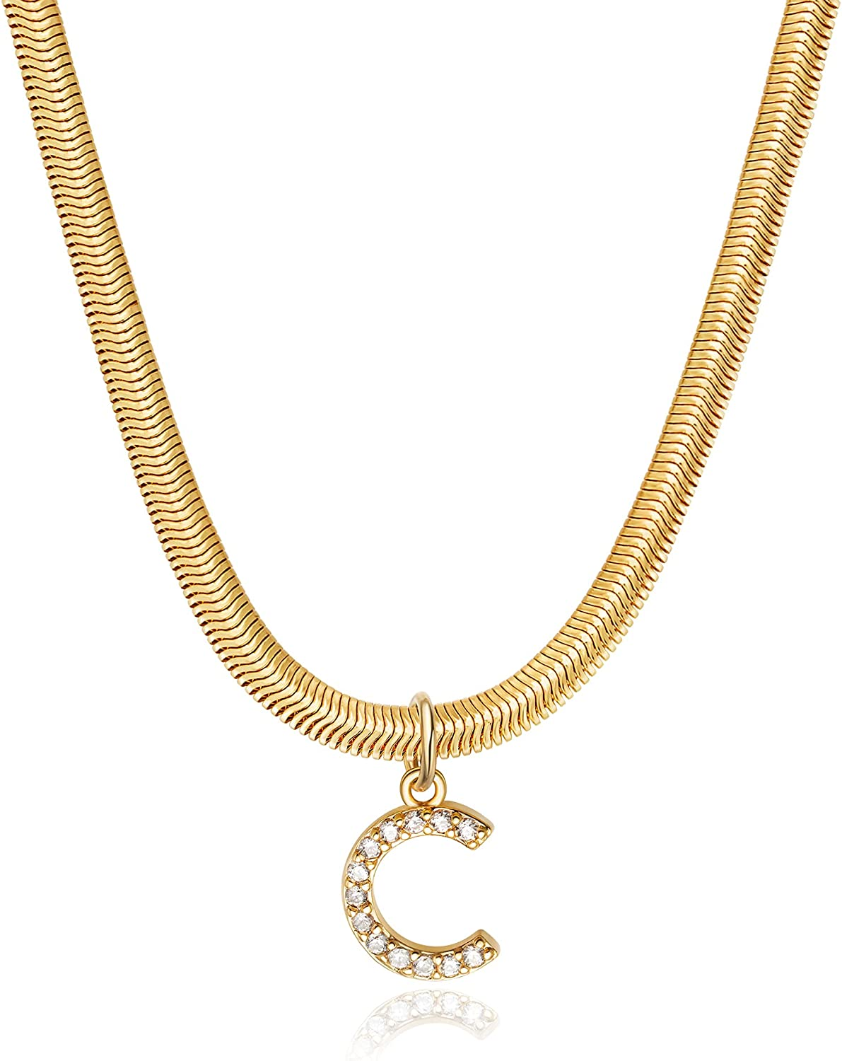 NECOCY Gold Initial Herringbone Necklace 18k Gold Plated 3mm Oval Snake Chain Necklace Dainty Flexible Chain Necklace with Cubic Zirconia Personalized Alphabet Letter Name Pendant Necklace for Women