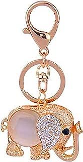 JewelBeauty Big Opal Elephant Keychain Sparkling Keyring Crystal Purse Pendant Rhinestones Handbag Charm(Rose Gold Big Opal)