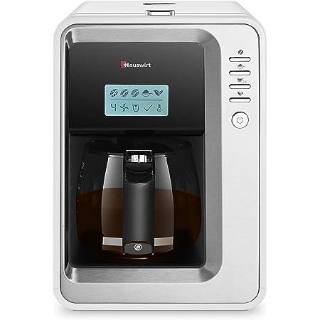 Super Machine à Café K6 Cafetière Thé Automatique HAUSWIRT, 3 Tailles de Mouture, 2-6 Tasses avec Moulin en Acier Inoxydable, Assiette au Chaud Automatique de 2H, Réservoir Amovible, Carafe de 0.9L