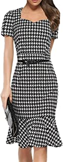 Women's Fashion Short Sleeve Houndstooth Dress Pencil Mermaid Dress