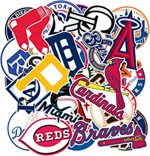 Baseball Team Logo Laptop Stickers, Sport Teen&Adult Water Bottle Travel Case Computer Wall Skateboard Motorcycle Phone Bicycle Luggage Guitar Bike Stickers Decal 30Pcs Pack