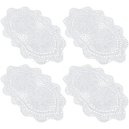 White Cream or White Set of 2 Home-X Rectangular Lace Doilies