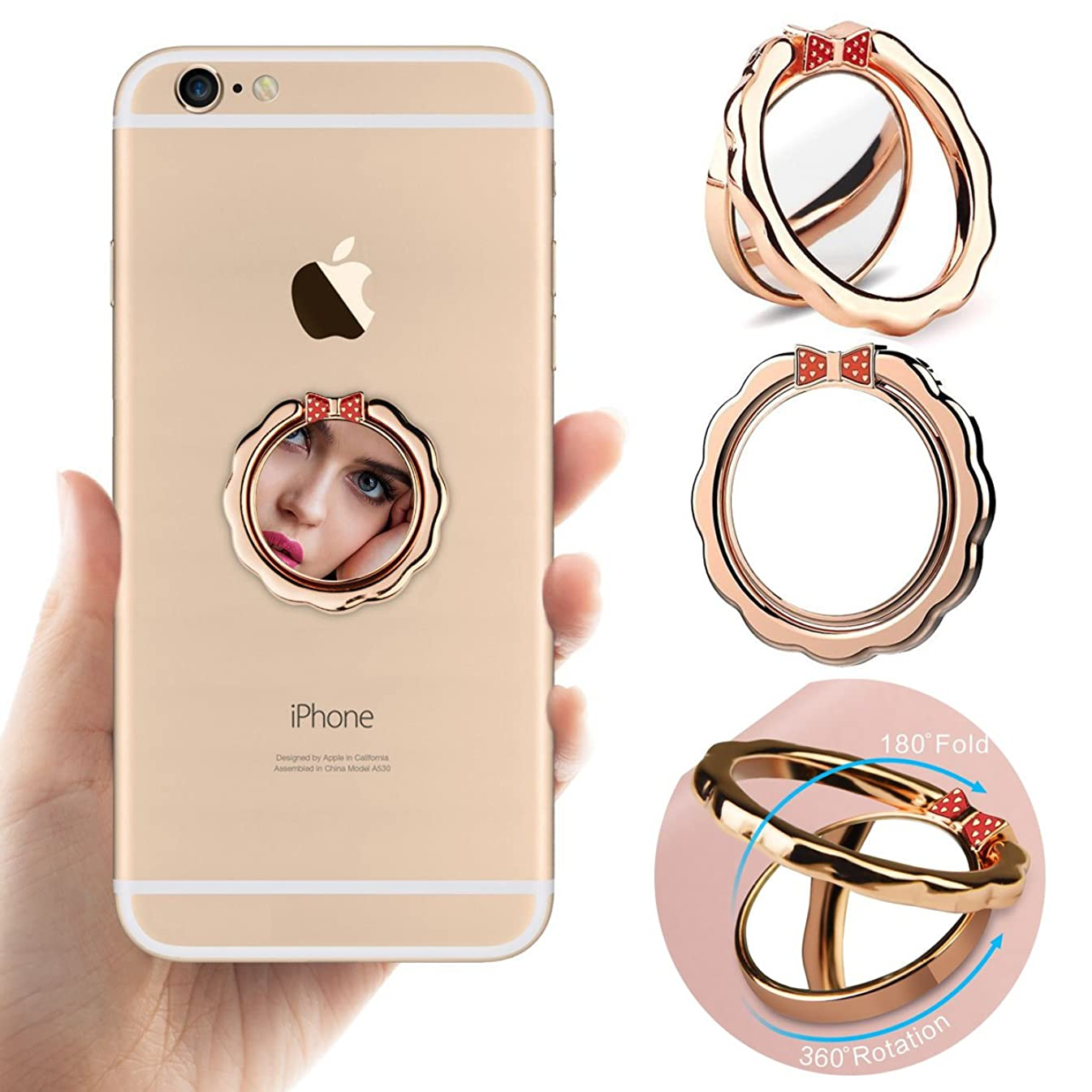 Cell phone holder, Best Share 360°Rotation Universal Metal Smartphone Ring Grip Stand Magnetic Car Mount Holder, Bowknot Mirror-Rose Gold