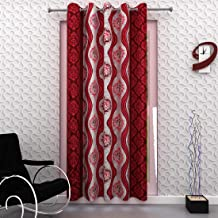 Homely Eyelet Abstract Door Curtain, 7 Ft, Red, Single, 1 Pc