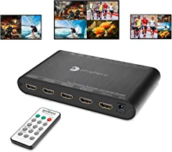 gofanco Prophecy 1080p Quad Multi-Viewer 4x1 HDMI Switch with Seamless Switch, 5 Display Modes, Audio Extractor to Stereo, IR Remote/Software/Push Button Controls, Firmware Upgradable (PRO-QuadView)