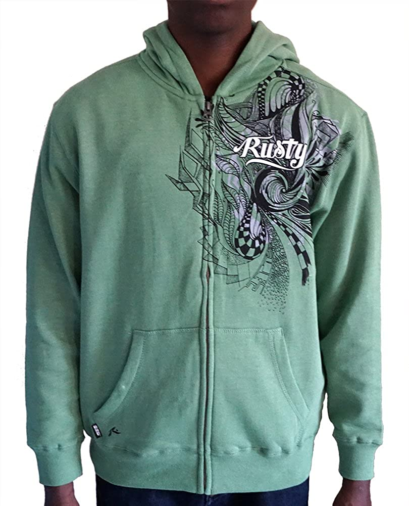Boys RUSTY Zip Up Hoodie with Built in Speakers (Small, Kelly Heather)