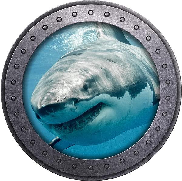 18 Porthole 3D Window Wall Sticker Shark 3 Port Scape Decal Ocean Sea Animal Submarine Window Peel And Stick Kids Room Decor Wall Art Removable Fabric Vinyl