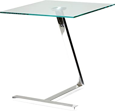 Cortesi Home Zee Square Glass End Table, 18x18x20, Chrome