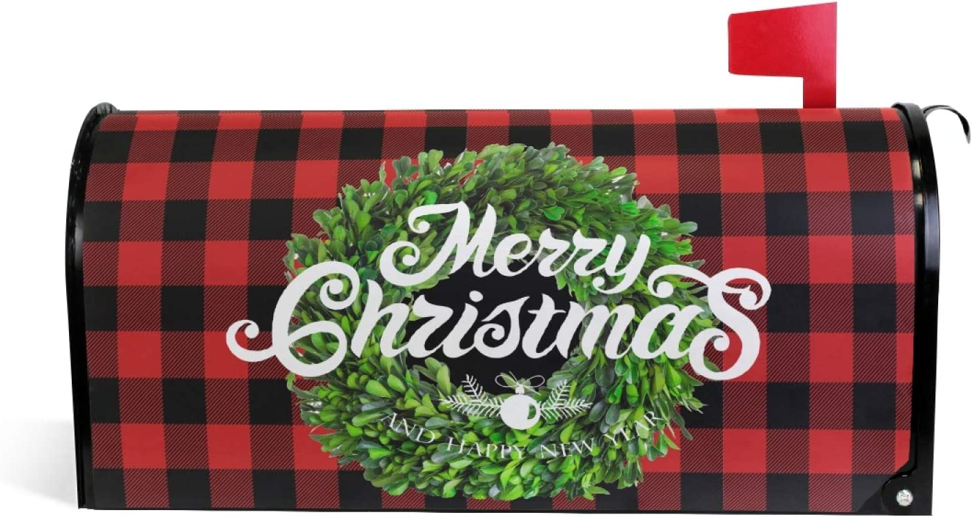 Christmas Boxwood Wreath Magnetic Under Ranking TOP20 blast sales Mailbox Cover Berry MailWraps