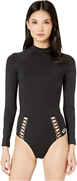 14fbffe185 Roxy pop surf long sleeve one piece swimsuit | Shipped Free at Zappos