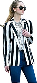 Women's Halloween Beetlejuice Costume Black and White Striped Blazer Jacket