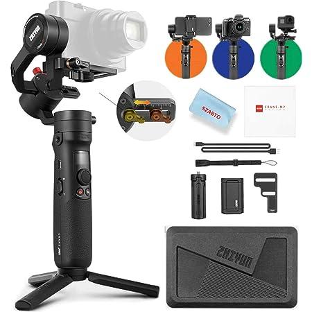 ZHIYUN Crane M2 3-Achsen Gimbal Stabilisator für DSLM Mirrorless Kamera,Action Kamera,Smartphone,für A6300,A6300,A6500,GX85,Gopro Hero 5/6/7,iPhone XS XR,System mit Schnellwechselplatte,720g Nutzlast