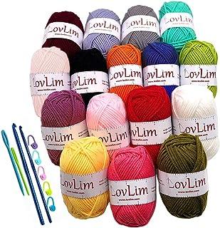 LovLim Crochet Yarn kit, 16 Soft Cotton Yarn Skeins,1000+ Yards, for Crochet and Knitting, Free Crochet/Amigurumi Pattern...