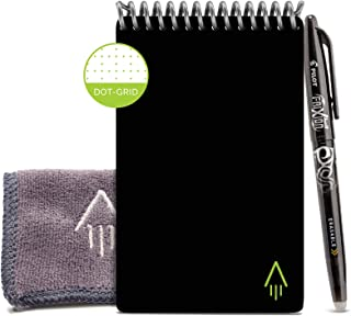 Rocketbook Smart Reusable Notebook - Dotted Grid Eco-Friendly Notebook with 1 Pilot Frixion Pen & 1 Microfiber Cloth Included - Infinity Black Cover, Mini Size (3.5