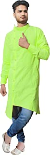 Lakkar Haveli Men's Trail Cut Kurta Shirt Casual Cotton Tunic Green Color