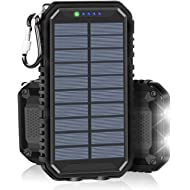 Solar Charger 15000mAh Portable Power Bank with 2.4A Outputs Weatherproof for iPhone, ipad,...
