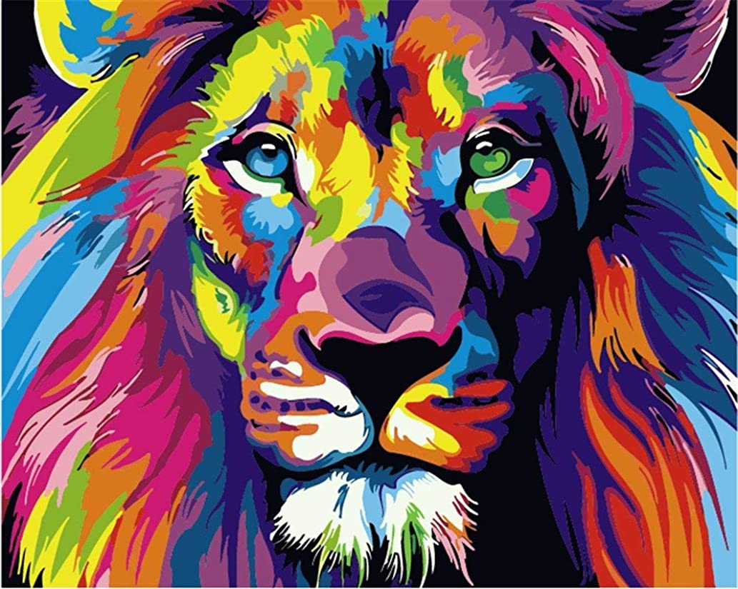 """iCoostor Wooden Framed Paint by Numbers DIY Acrylic Painting Kit for Kids & Adults Beginner– 16"""" x 20"""" Colorful Lion Pattern with 3 Brushes & Bright Colors…"""