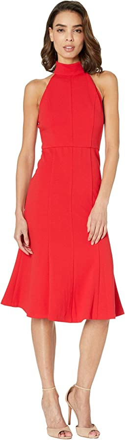 Crepe Mock Neck Halter Midi Dress