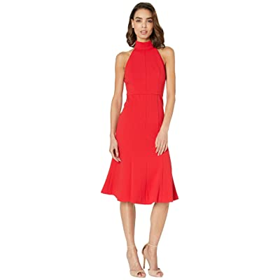 Donna Morgan Crepe Mock Neck Halter Midi Dress (Red/Red) Women
