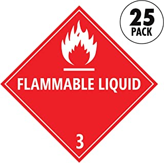 Sutter Signs Flammable Liquid Warning Stickers | DOT Compliant Placard for Trucks (Pack of 25)