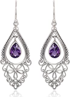 925 Sterling Silver Bali Filigree Chandelier Design w/Purple Amethyst Dangle Earrings