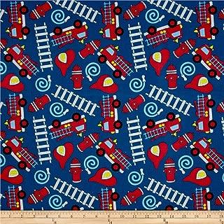 Santee Print Works Kid's Choice Fire Trucks Royal Fabric by the Yard