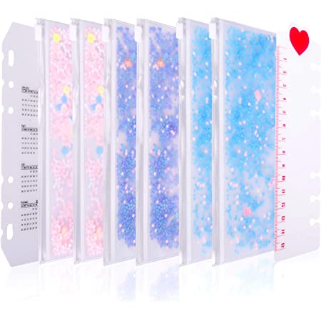 2 sets of 10 dividers with 6 rings, PVC index card, insertable tab cards, with 1 translucent polypropylene ruler, classified labels, for Filofax notebook, travel diary, a6 diary Zipped glitter pocket
