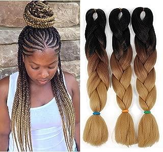 Ombre Braiding hair 24 inch 100g Crochet Braids Kanekalon Braiding Hair Synthetic Hair Extension (24inch,3Packs, Ombre Black Brown)