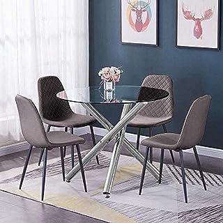BJYG Muebles de Cocina Redonda de Vidrio, Mesa de Comedor y sillas, Juego de 4 sillas de recepción de Oficina tapizadas en Terciopelo Gris y Mesa de Vidrio Templado Transparente, Juego de Mesa y