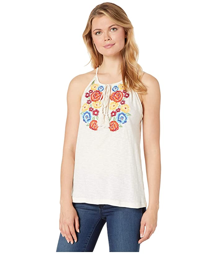 Rock and Roll Cowgirl 49-1613 Floral Embroidered Tank Top