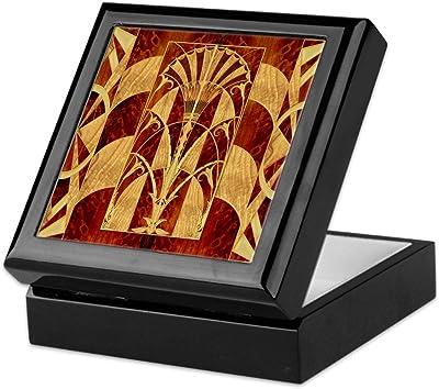 CafePress - Harvest Moons Art Deco - Keepsake Box, Finished Hardwood Jewelry Box, Velvet