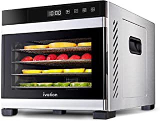 Ivation 6 Tray Commercial Food Dehydrator Machine  600w, Easy Setup, Digital Adjustable Timer and Temperature Control   Dr...