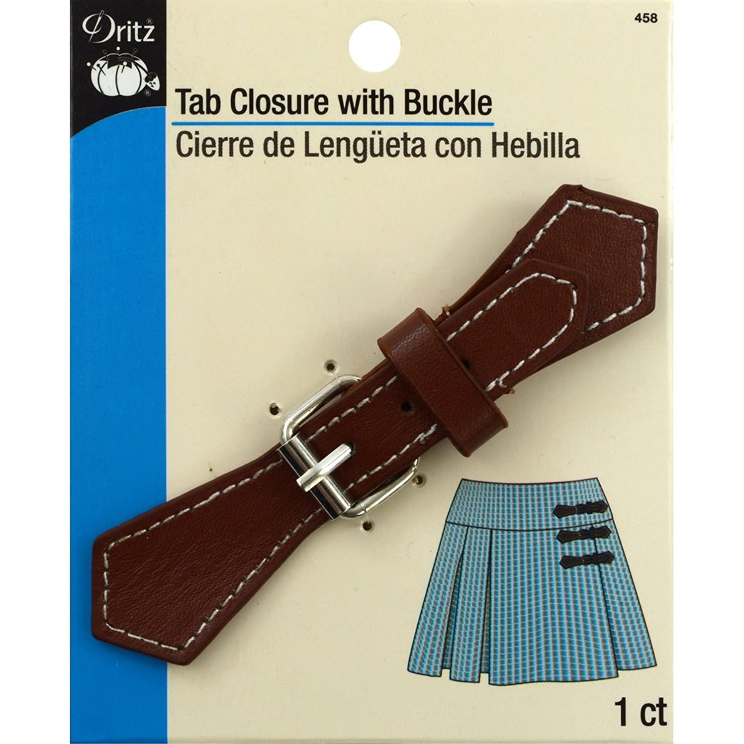 Dritz 458 Faux Leather Tab Closure with Buckle, Brown