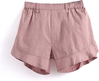 Aimama Toddler Shorts, Baby Girl's Cotton Ruffled Short Pants Clothes with Ruffles Opening & Elastic Waistband for Infant - Pink