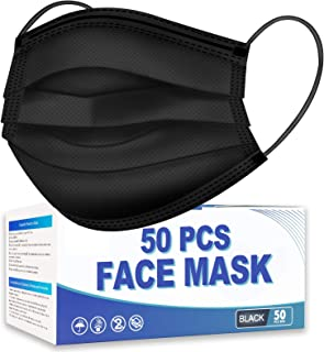 Hotodeal 50 Pcs Black Disposable Face Masks, Breathable Face Mask 3 Layer Facemask, Lightweight Facial Masks for Adult, Me...