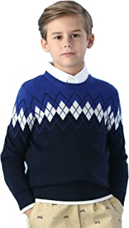 LEO&LILY Big Boys' Kids' Wool Blends Jacquard Casual Pullover Sweater
