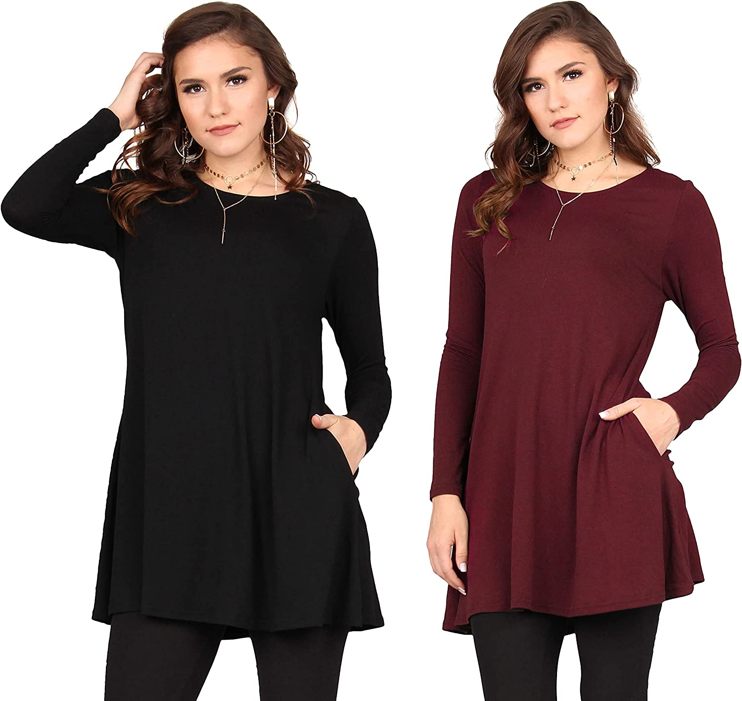 Lildy Women's Solid Pocket Swing Tunic, Loose Casual Stretchable Pullover