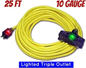 25 ft 10 Gauge Heavy Duty Indoor Outdoor SJTW Lighted Extension Cord Century Contractor Yellow 100 foot 10 AWG Copper Lighted Multi Outlet Grounded 10/3 Extension Cord (10 Awg Triple Outlet, 25)