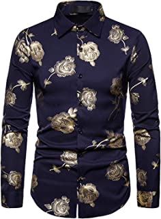 JOLIME Funky Camisa Hombre Manga Larga Slim Fit Casual Fiesta Clubwear Estampada Rosa Floral