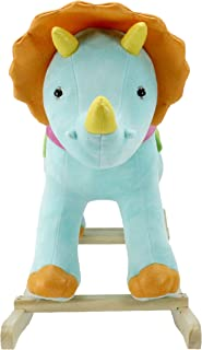 Animal Adventure | Real Wood Ride-On Plush Rocker | Blue Triceratops | Perfect for Ages 3+