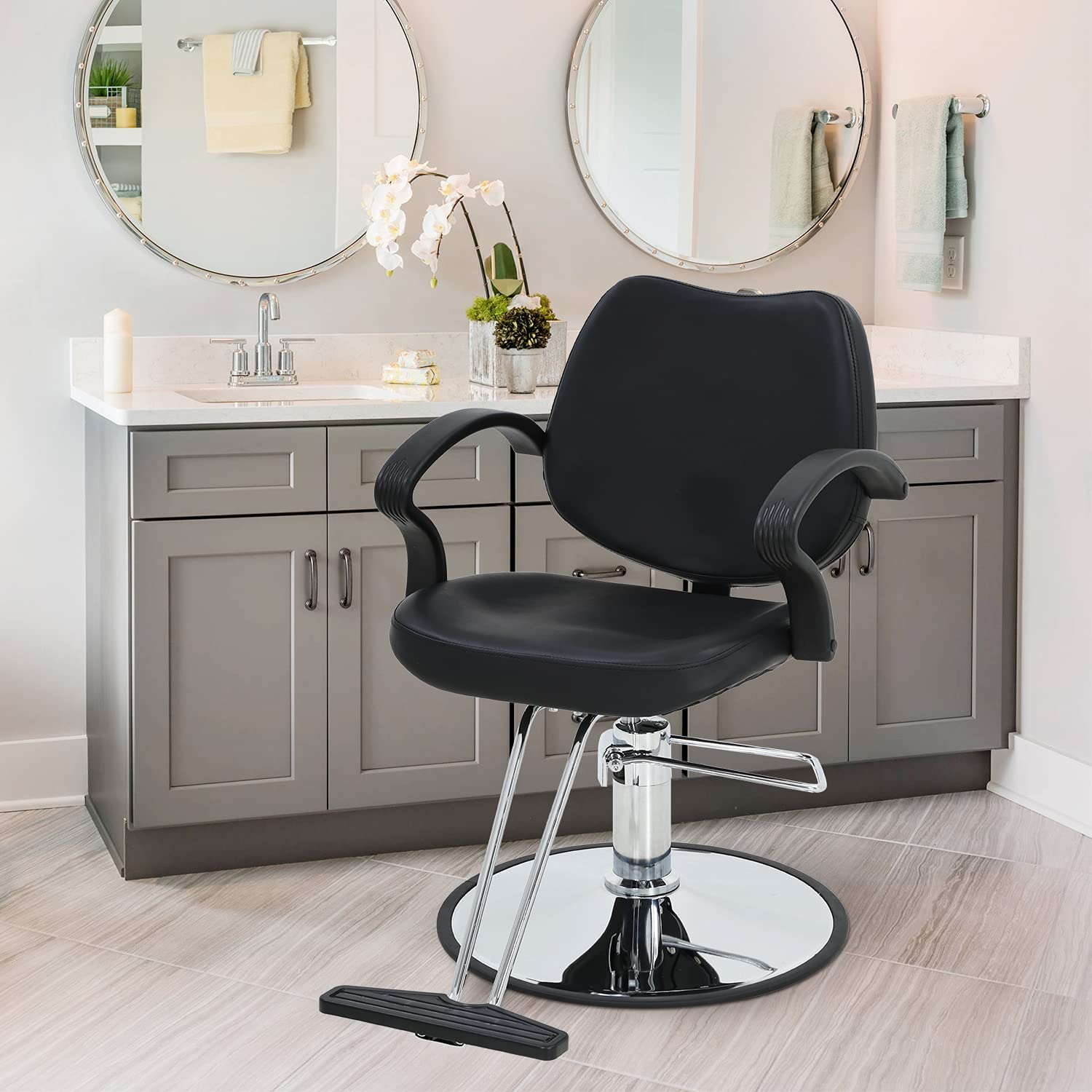 Barber Chair with Heavy Duty Hydraulic Charlotte Mall Leather Ad Height Pump PU Fixed price for sale