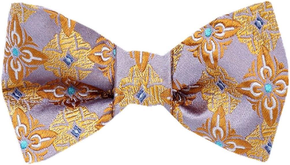 FBTZ-1269 - Men's Silk Self Tie Bowtie Tie Yourself Bow Ties