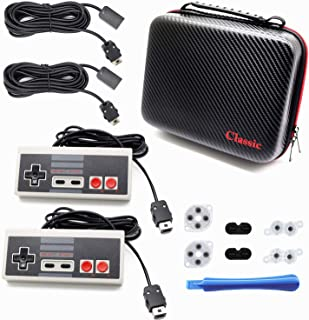 Roobeeo NES Classic Controller 7 in 1 Set NES Classic Controller for Nintendo Classic Mini Edition with 2 Set Conductive Adhesive Pads Replacement 2 10ft/3M Extension Cable and 1 Travel Handbag