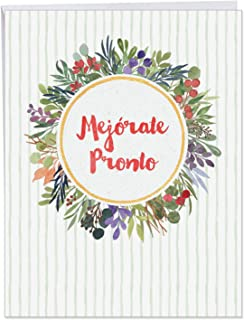 Mejorate Pronto - Spanish Get Well Soon Greeting Card with Envelope (8.5 x 11 Inch) - Beautiful Floral Inspired Thinking of You Note Card - Spanish Feel Better Stationery Notecard J6647GWG-SL