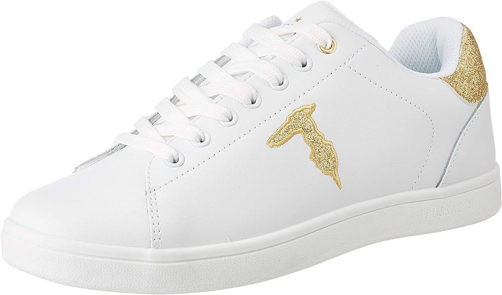 Trussardi jeans, sneakers, glitter patch, scarpe con lacci per donna,in ecopelle con logo effetto glitterato 79A004699Y099999