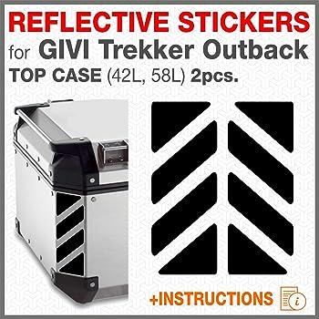 2pcs RIFRANGENTI ADESIVI сompatible con GIVI Ba/úl Trekker Outback Monokey 37 42 48 L Red 030 Aluminio Top Case