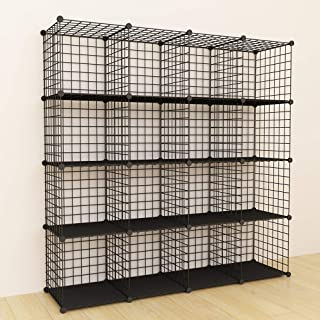 SIMPDIY Bookshelf Portable Storage 16 Cubes Black Wire Grid Wire Cube Storage Space-Saving Metal Organizer Wire Modular Shelf