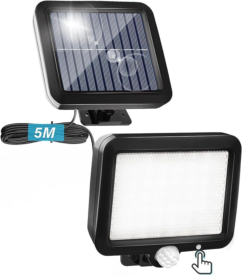 Solarlampen für Außen mit Bewegungsmelder, Solar Aussenleuchte mit 3 Modi und Schalter, 56 LED Solarleuchten, IP65 Wasserdichte, Solar Strahler Licht mit 16.5ft Kabel, 120° Beleuchtungswinkel