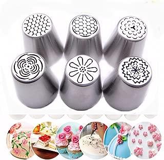 ZJKJ 6PCS Russian Piping Tips Flower Cake Icing Piping Nozzles Cake & Cupcake Decorating Tips Kit Pastry DIY Baking Tools